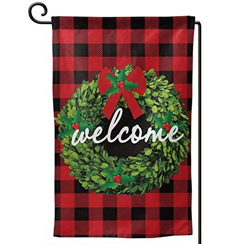 MSGUIDE Garden Flag Christmas Welcome Red Black Buffalo Plaid and Garland Yard Outdoor Decoration Small Flags for Home Lawn Farmhouse 12' X18