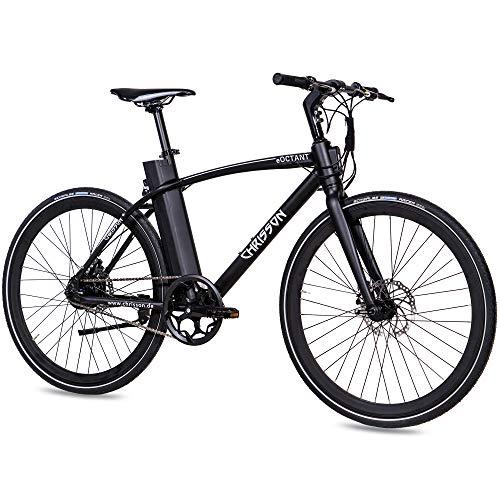CHRISSON 28 Zoll E-Bike City Bike eOCTANT mit Vorbau-Display schwarz - Elektrofahrrad Urban Bike mit Aikema Hinterradmotor 250W, 36V, 40 Nm, Pedelec für Damen und Herren