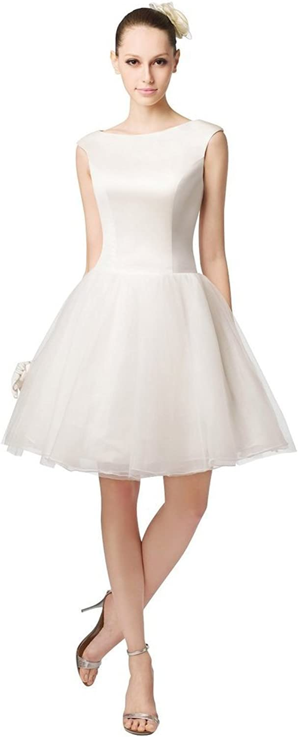 BessWedding Short Cap Sleeve Mini Evening Prom Wedding Party Dresses Ball Gowns