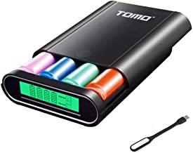 Authentic Tomo M4 Portable External Battery Charger Box (Batteries Not Included) & 2-USB Ports DIY Power Bank Premium Plastic Shell Box with LCD Display + Flexible USB LED Light Lamp