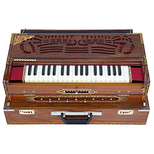 Harmonium-Koppler mit 3 Stimmstäben, 9 Maßstaben, 3 3/4 Oktave, natürliches Teakholz, abgestimmt auf A440 Indisches Musikinstrument