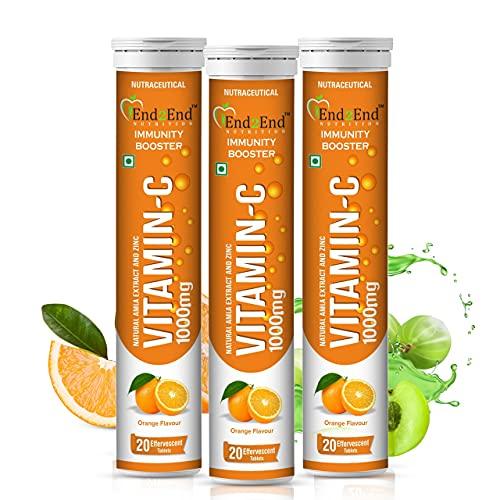 End2End Nutrition Vitamin C – Zinc – Natural Amla Extract – Antioxidants – Immunity – skin care – family pack – 60 Effervescent Tablets – Orange Flavor