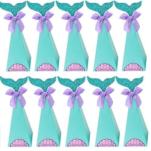 Integrity.1 Cajas de Regalo de Sirena, 20 Piezas Cajas de Fiesta de Sirena, Bolsas de Regalo de Sirena, para Fiesta de Sirena, Suministros de Decoración para Bbaby Shower, Suministros de Boda