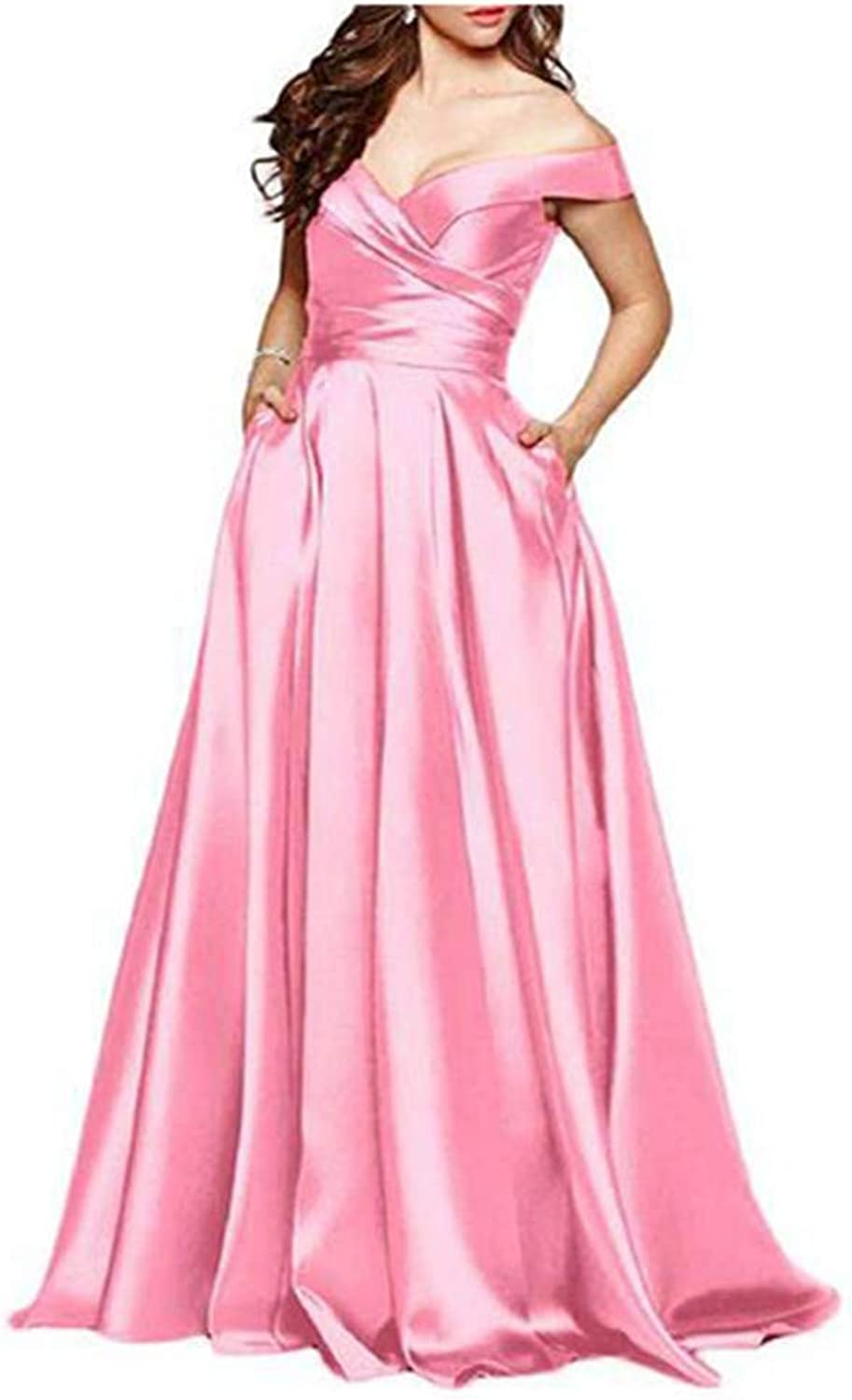 Aiyue Yishen Long Off Shoulder Evening Dress Satin Aline with Pocket Party Gowns Maxi