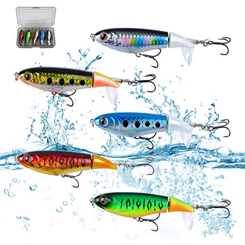 DesignSter 5PCS Topwater Fishing Lure Set/Rotating Lures Tail 3.9inch 10cm Pencil Hard Bait Hook with Box/Fish Tackle Bait for Freshwater Saltwater Carp Bass Pike, etc