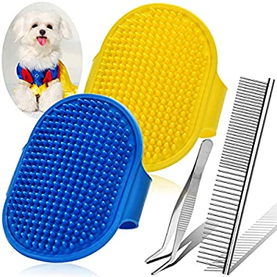 4PCS Upgraded Dog Grooming Brush and Comb Set, Gentle Dog Shampoo Brush, Dog Brush for Shedding and Grooming & Dog Comb, Pet Bath Brush for Dogs & Cats With Long Short Hair from Homica