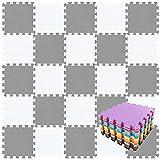 qqpp Alfombra Puzzle para Niños Bebe Infantil - Suelo de Goma EVA Suave. 18 Piezas (30 * 30 * 1cm), Blanco & Gris.QQC-ALb18N