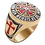 UNIQABLE Knight Templar Masonic Ring 18k Gold PLD Red Cross Yellow Version 40 Gr Handcrafted BR-7 (13)
