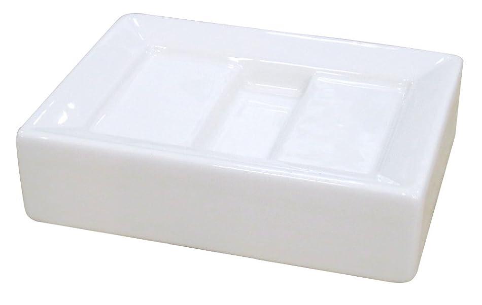 ハーフ横傷つきやすいセンコー ホワイトキューブ ソープディッシュ ホワイト 約W12×D9×H3.2cm 54302