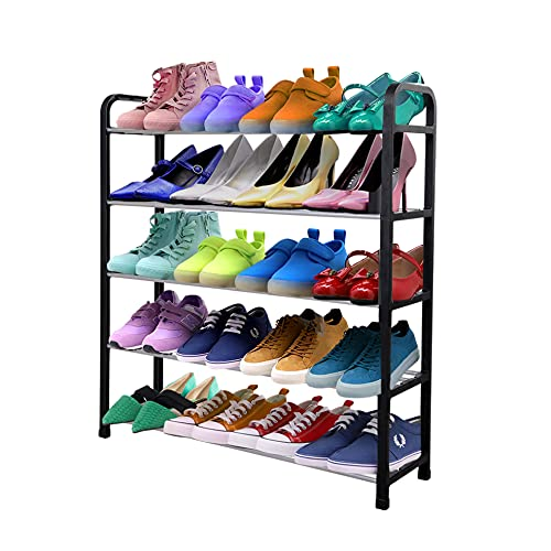 1ABOVE 5 Tier Shoe Rack Organiser, Heavy duty storage unit, Quick Assembly No Tools Required, Holds upto 15-20 pairs (BLACK)