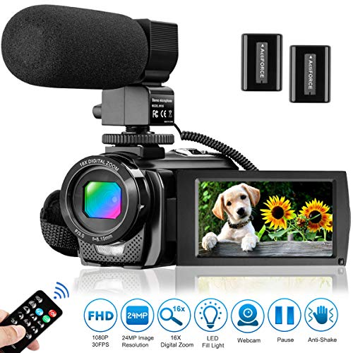 Video Camera Camcorder for YouTube, Aasonida Digital Vlogging Camera FHD 1080P 30FPS 24MP 16X Digital Zoom 3.0 Inch 270° Rotation Screen Video Recorder with Microphone, Remote Control, 2 Batteries