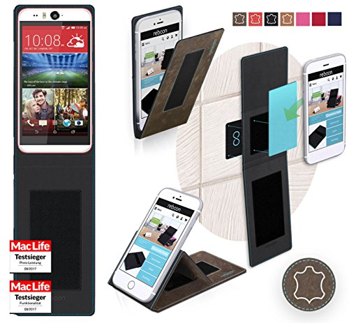 Hülle für HTC Desire Eye Tasche Cover Hülle Bumper   Braun Wildleder   Testsieger