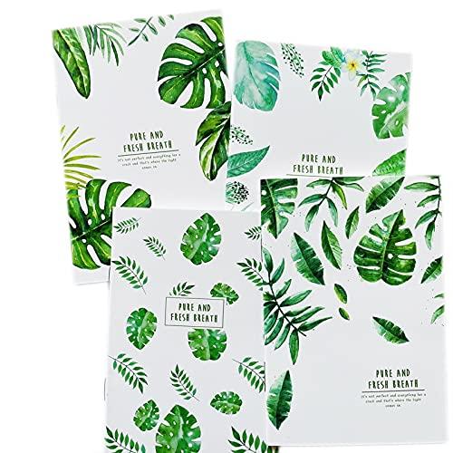 4 unids A4 Portátil de Hojas Verdes 96 páginas Aliento Fresco Descripción del Diario Libro de la Escuela Oficina de la Oficina Estudiante Estudiante Papelería Manga de plástico Forrado Cuaderno