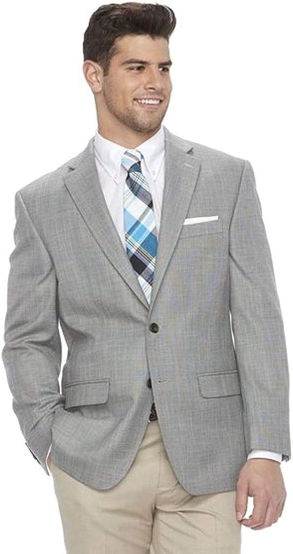 Chaps Mens Classic-Fit Stretch Sport Coat Blazer Light Grey