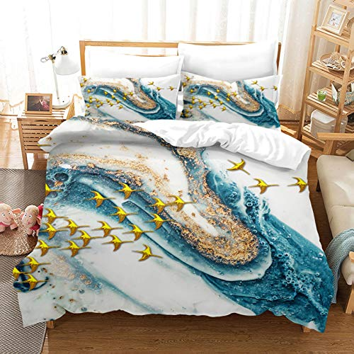 MQBHJI Duvet Covers Double Bed - 3D Printed Golden Flying Goose Art Pattern 3 Pcs With Zipper Closure 200X200CM With 2 Pillow Covers, Ultra Soft Microfiber Bedding Set Double Bed