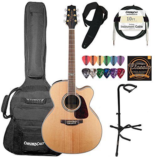 Takamine GJ72CE-NAT JUMBO Cutaway 6-String Acoustic Electric Guitar Kit - Includes: ChromaCast Suede Strap, 10ft Pro Series Guitar Cable, Strings, Pick Sampler Pack & Upright Guitar Stand