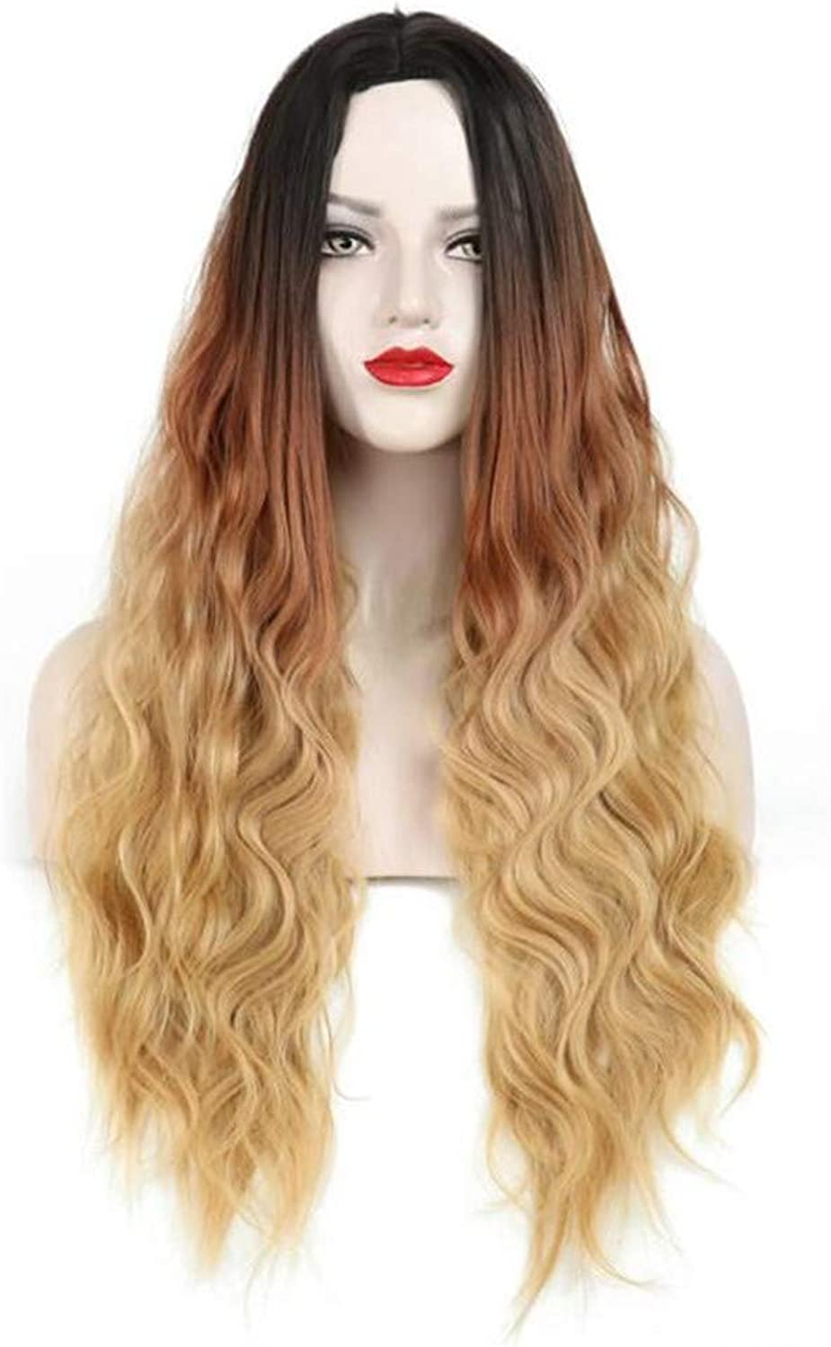 Wig Small wave dyed long curly headgear Gradient Fashion lady