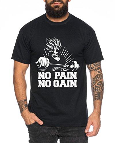 WhyKiki Gohan No Pain No Gain One Goku Dragon Master Son Ball Gym Vegeta Roshi Piece Golds Camiseta de Hombre, Farbe2:Negro;Größe2:4XL