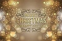 新しい10x7ftビニールメリークリスマスとハッピーニューイヤーバナー写真背景抽象的なゴールドライト白斑スノーフレーク花びら新生児赤ちゃん大人の肖像写真背景クリスマスパーティーの装飾スタジオの小道具