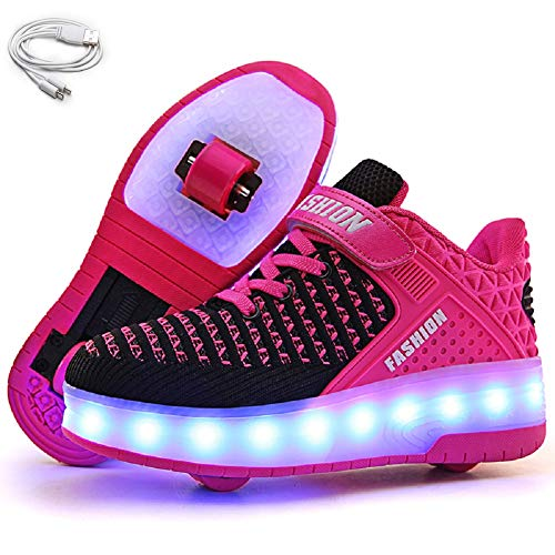 Ehauuo Wheelie Shoes for Girls Boys Light up Shoes Kid's Skates Shoe USB Charging Roller Skate Shoes for Gift(6.5 M US Big Kid, B-Rose)