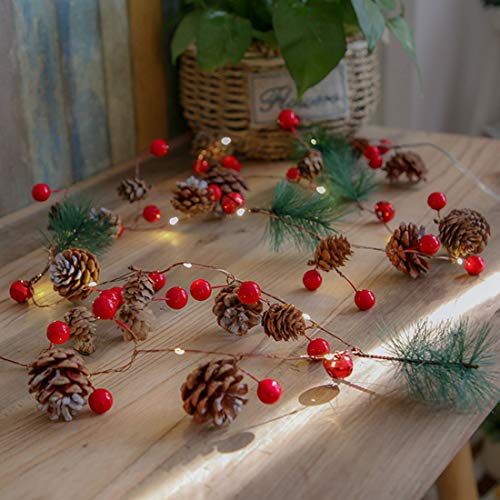 Christmas Pine Cones String Lights 30 LEDs 10 Ft Jingle Bell with Berries Copper for Indoor Outdoor Thanksgiving Xmas Fairy Light Fit Garden Garland Party Decorations - 3AA Battery Power Warm White
