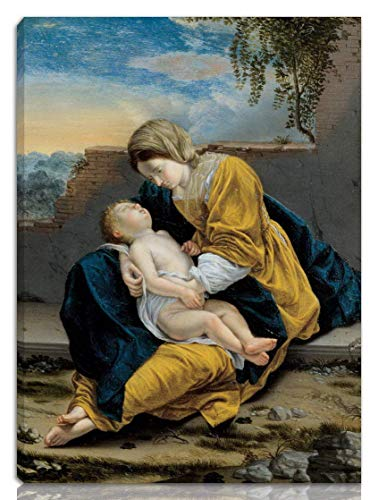 """Vintage Wall Decoration Sign 16""""x12""""Orazio Gentileschi(Madonna and Child in A Landscape),Metal Poster Plaque Warning Sign Iron Painting Art Decor for Bar Cafe Garden Bedroom Office Hotel"""