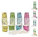Bioaiks 100 Bicchierini Caffe in Carta con Palettine in Legno - Biodegradabili, 4 Colori, 75 ml