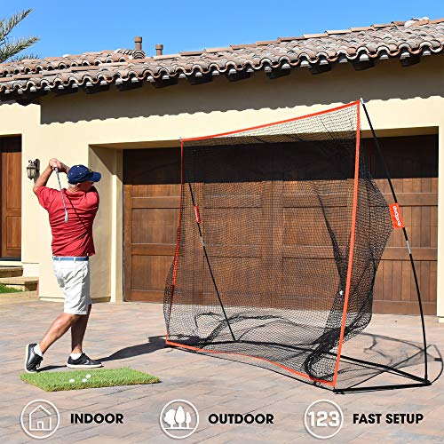 GoSports Golf Practice Hitting Net, Huge 10' x 7' Personal Driving Range for Indoor or Outdoor Use, Designed By Golfers for Golfers