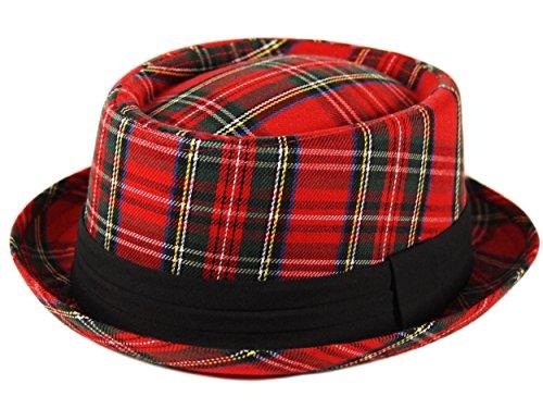 Chapeau de porc Trilby Fedora écossais à carreaux unisexe pour adulte Style Breaking Bad Heisenberg Rouge - Rouge - X-Large