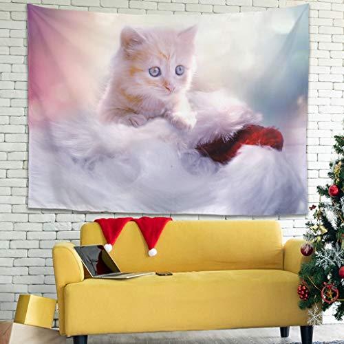 superyu Kitten Intricate Tapestries Colcha de picnic manta con decoración étnica para dormitorio, color blanco, 150 x 149 cm