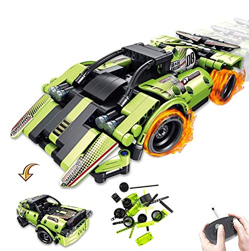 STEM Building Toys for Kids 2-in-1 Remote Control Race Car Building Blocks Racer Engineering Kit Off-Road Car Best Gift for Boys and Girls 6 7 8 9 10+ Year Old