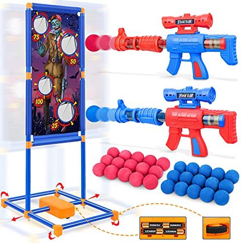 Generic Juego de Pistolas de Bolas de Espuma, Pistolas de Juguetes para Niños con Objetivo de Pie Móvil, Juguetes de Tiro para Exteriores y Interiores
