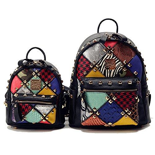 Patchwork von Luxe PU Leder Damen Rucksack PU Lederrucksack Rücksack Damen Leder Tasche Schulrucksack mit Mode Niet Design für Mädchen