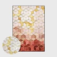 RTYUIHN 現代のダイヤモンド格子光の豪華な女の子ゴールドピンクループベルベットの寝室のリビングルームの廊下のドアカーペットフロアマットエリアカーペット
