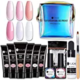 UR SUGAR 15ML Kit Uñas Acrilicas Poligel Uñas Kit Completo Poly Extension Gel Constructor -Base & Top Coat, Brush, Dual Form, Slip Solution 6PCS Uñas Kit Pro Uñas de Gel