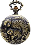 New Brand Mall Classic Vintage Bronze Two Bear's Antique Design Case for Men's Quartz Pocket Watch with Chain