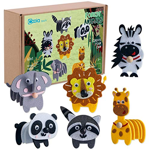 Animals Craft Kit - Educational Toys for Kids, Felt Craft Kit Including 6 Wild Friends, Elephant Zebra Panda Lion Raccoon Giraffe, DIY Activity Birthday Gifts for Boys & Girls Ages 3 4 5 6 and Up