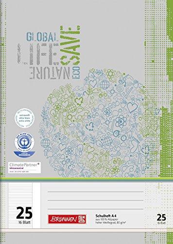 Brunnen 104412501 Schulheft Recycling A4 (16 Blatt, liniert, Lineatur 25, mit Rand)