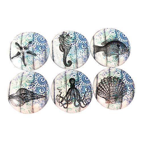 Set of 6 Blue Nautical Print Wood Cabinet Knobs