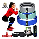 Fabric Resistance Bands and Core Sliders, Resistance Bands for Legs and Butt + Mesh Bag + Ebook, Workout Gear Exercise Program, Hip Bands, Hip Circle Resistance Band, Cloth Resistance set of 3