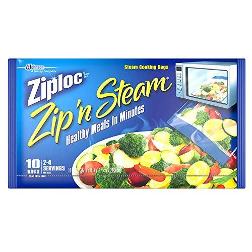 Ziploc Zip'N Steam Cooking Bags, Medium, 10-Count (Pack of 3)