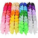 Mybigqueen Boutique Baby Girls Alligator Clips Grosgrain Ribbon 3 inch Pinwheel Hair Bows For Teens Kids Toddlers 20 Colors 40Piece