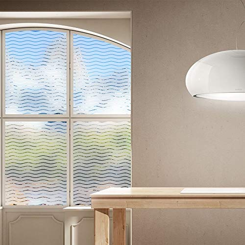Pegatinas de ventana con patrón de ondas, pegatinas de electricidad estática, aislamiento térmico, alféizar de ventana reciclable, armarios de puerta, película de bricolaje, película A18 45x200cm