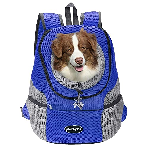 papipet Pet Carrier Backpack, Dog Cat Front Pack with Breathable Head Out Design for Small Medium Dogs for Travel Hike Outdoor (L, Blue)