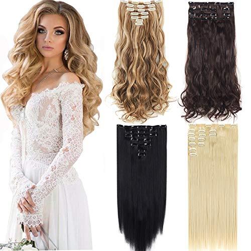 DODOING Lot de 7 extensions de cheveux synthétiques épais avec 16 clips - Marron - Bouclé-61 cm