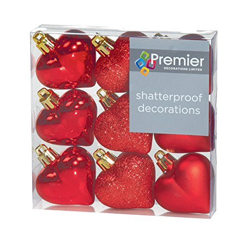 Christmas Decorations 9 Pack 40mm Multi Finish Heart baubles - Red