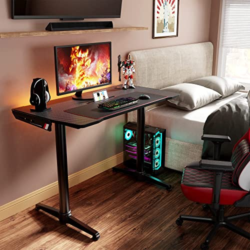 EUREKA ERGONOMIC 43 Inch Curved Gaming Desk with Phone Holder, Small Study Computer Desk with Mouse Pad, Writing Desk with Groove for Tablet or Book Cable Management System for Home Office, Black