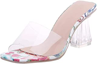 High-heeled sandals Clear Heels Slippers Women Sandals Summer Shoes Woman Transparent High Pumps Wedding Jelly Square Flower Print