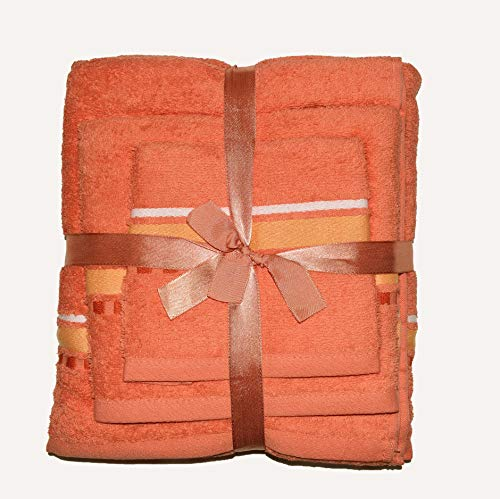 Exotic Cotton Juego de Toallas de Baño L 100 x 150 cm de Algodón Egipcio – 3 Piezas Secado Rápido – Toalla de Cara 30x50 cm, Toalla de Mano 50x100 cm y Toalla de Ducha 100 x 150 cm – Toallas Naranjas