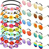 Bememo 20 Pieces Hippie Glasses Headband Costume Set, Includes 10 Pieces Multicolor Girl Lady Daisy Flower Crown, 10 Pieces Round Hippie Sunglasses for Festival Party